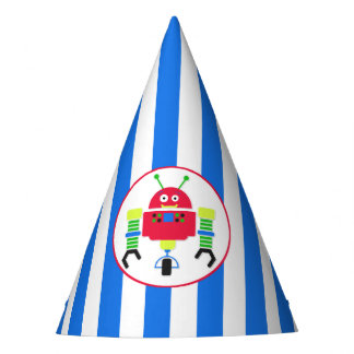 Stripes and Robot Birthday Party Hat