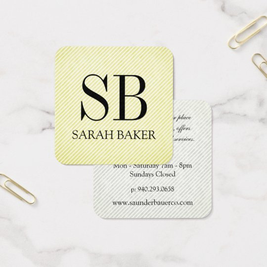 Stripes and Script Monogram Square Business Card