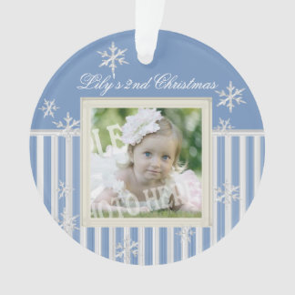 Stripes and Snowflakes Winter Photo Ornament