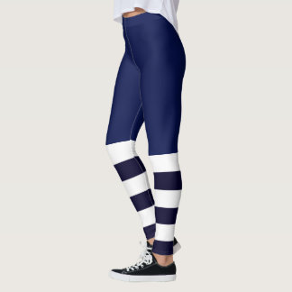 Stripes and Solids Blue Pattern Leggings