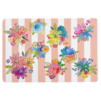 Stripes and Watercolor Flowers Home Decor Floor Mat