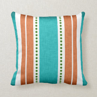 Stripes aqua orange funky cool pillow