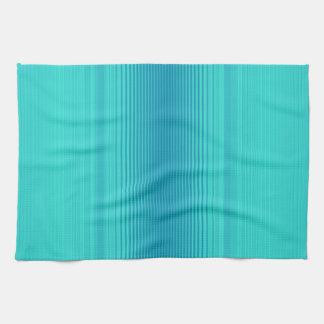 Stripes - Aqua Turquoise Cyan Blue Kitchen Towel