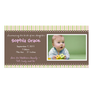Stripes Baby Girl Birth Announcement Card