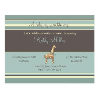Stripes Baby Shower Invitation (Boy) Postcard