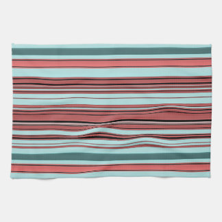 Stripes - Begonia and Teal Kitchen Towel