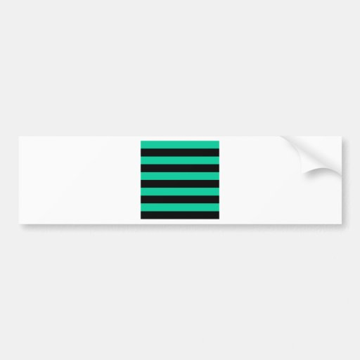 Stripes - Black and Caribbean Green Bumper Stickers
