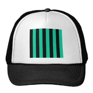 Stripes - Black and Caribbean Green Mesh Hats