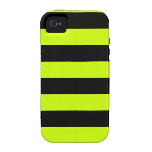 Stripes - Black and Fluorescent Yellow Case-Mate iPhone 4 Covers