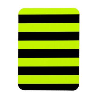 Stripes - Black and Fluorescent Yellow Rectangular Photo Magnet