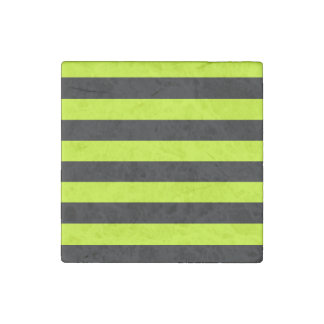 Stripes - Black and Fluorescent Yellow Stone Magnets
