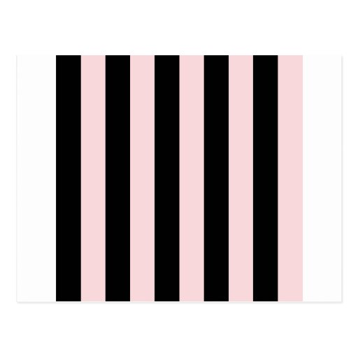 Stripes - Black and Pale Pink Postcard
