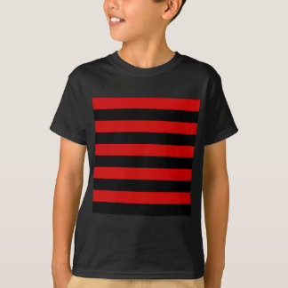 Stripes - Black and Rosso Corsa T-Shirt