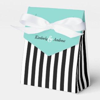 Stripes Black And White Ribbon Blue Wedding Gift Favor Box