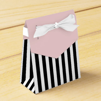 Stripes Black And White Ribbon Pink Wedding Gift Favor Box