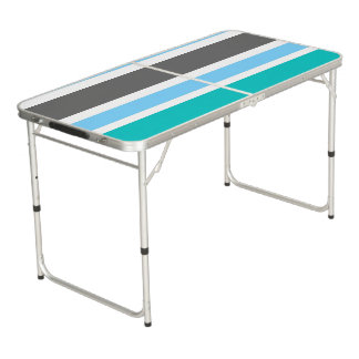 Stripes Blue Green Teal Grey Beer Pong Table