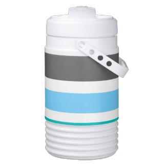 Stripes Blue Green Teal Grey Cooler