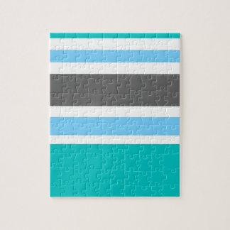 Stripes Blue Green Teal Grey Jigsaw Puzzle
