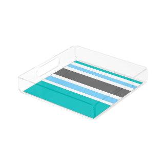 Stripes Blue Green Teal Grey Perfume Tray