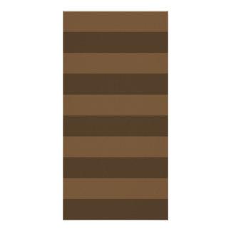 Stripes - Brown and Dark Brown Custom Photo Card