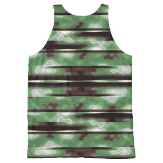 Stripes Camo Pattern Print All-Over-Print Tank Top