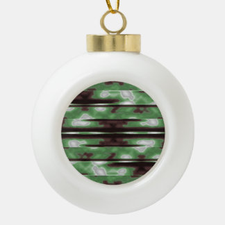 Stripes Camo Pattern Print Ceramic Ball Christmas Ornament