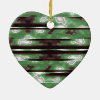 Stripes Camo Pattern Print Ceramic Heart Ornament