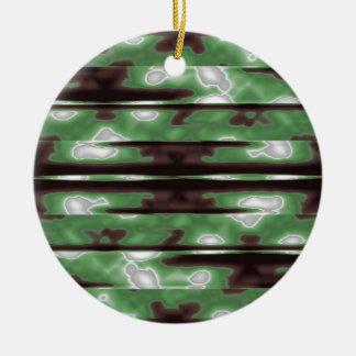Stripes Camo Pattern Print Ceramic Ornament