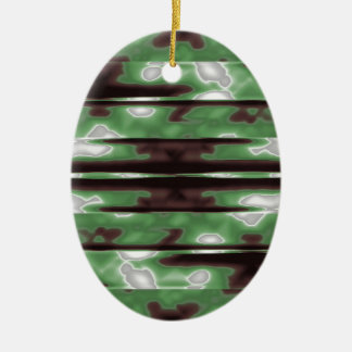 Stripes Camo Pattern Print Ceramic Oval Ornament