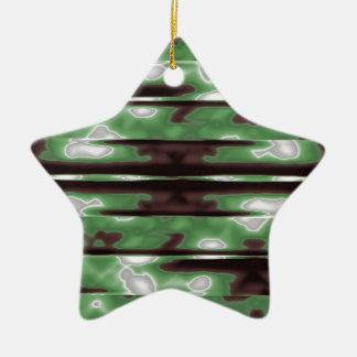 Stripes Camo Pattern Print Ceramic Star Ornament