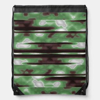 Stripes Camo Pattern Print Drawstring Bag