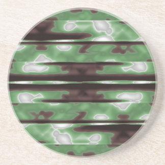 Stripes Camo Pattern Print Drink Coaster