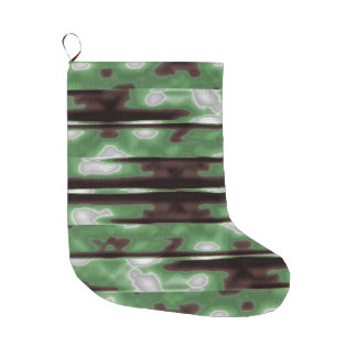 Stripes Camo Pattern Print Large Christmas Stocking