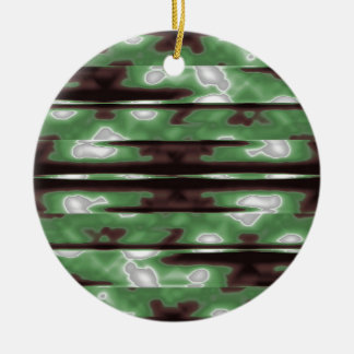 Stripes Camo Pattern Print Round Ceramic Ornament