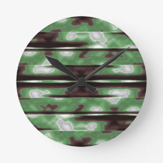 Stripes Camo Pattern Print Round Clock