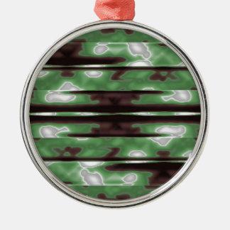 Stripes Camo Pattern Print Silver-Colored Round Ornament