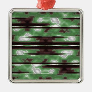 Stripes Camo Pattern Print Silver-Colored Square Ornament