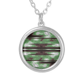 Stripes Camo Pattern Print Silver Plated Necklace