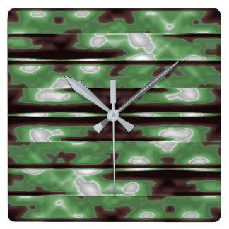 Stripes Camo Pattern Print Square Wall Clock