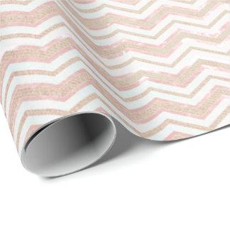 Stripes Chevron Lines Blush Pink Powder Ivory Glam Wrapping Paper