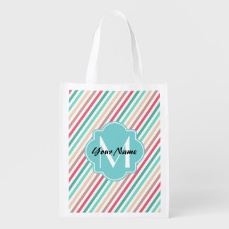 Stripes Custom monogram, personalized name D1 Reusable Grocery Bag