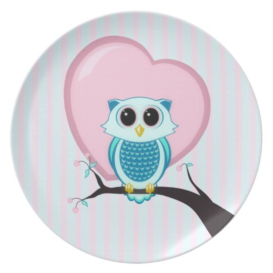 Stripes Cute Owl and Heart Melamine Plate