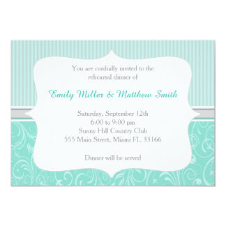 Stripes Damask Turquoise Rehearsal Dinner Invite