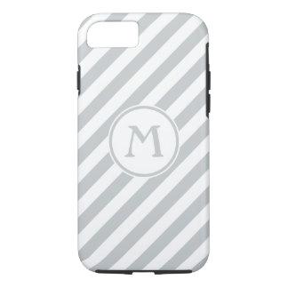 Stripes diagonal nautical monogram pale gray white iPhone 7 case