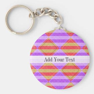Stripes, Diamonds, Spot Pattern by Shirley Taylor Basic Round Button Keychain