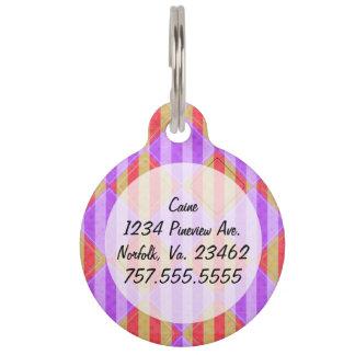 Stripes, Diamonds, Spot Pattern by Shirley Taylor Pet Name Tag