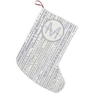 Stripes Dots Silver White Christmas Glam Sparkle Small Christmas Stocking