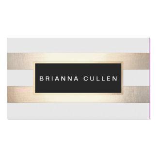 Stripes FAUX Gold Foil and Black Salon Appointment Business Card
