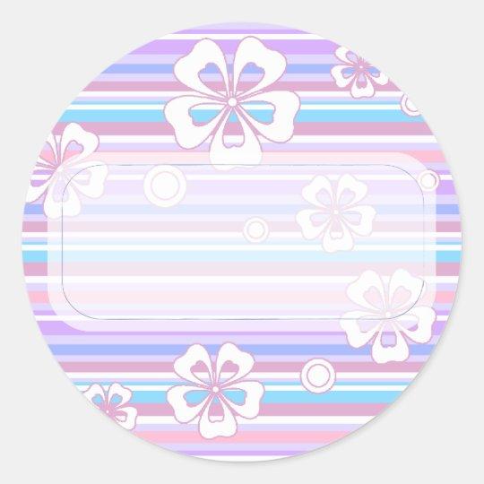 Stripes & Flowers Classic Round Sticker