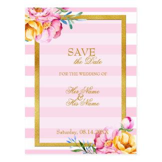 Stripes Gold Frame Flower Wedding Save the Date Postcard